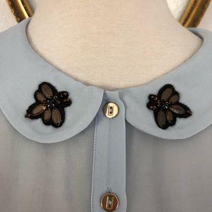 LC Lauren Conrad Tops - Lauren Conrad Blue Bee Embellished Sheer Blouse